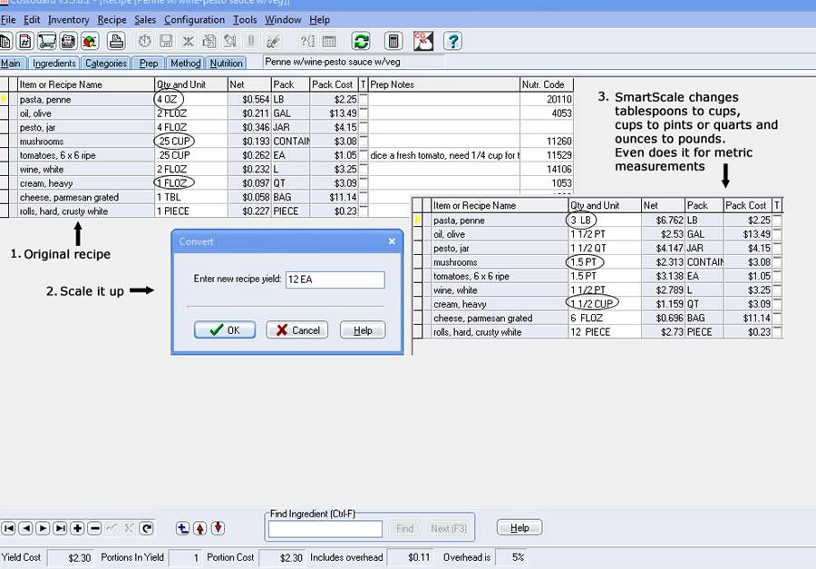 Recipe menu software food costing inventory control