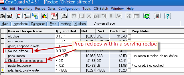 serving recipe with preps