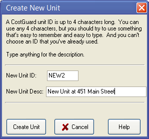 create new unit